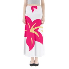 Flower Floral Lily Blossom Red Yellow Maxi Skirts by Alisyart