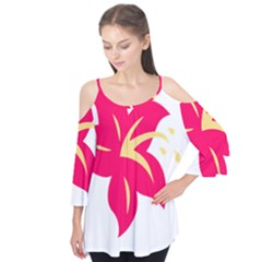 Flower Floral Lily Blossom Red Yellow Flutter Tees