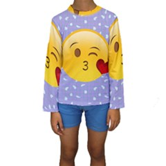 Face Smile Orange Red Heart Emoji Kids  Long Sleeve Swimwear by Alisyart
