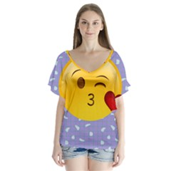 Face Smile Orange Red Heart Emoji Flutter Sleeve Top