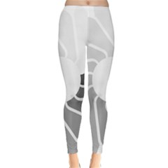 Flower Transparent Shadow Grey Classic Winter Leggings