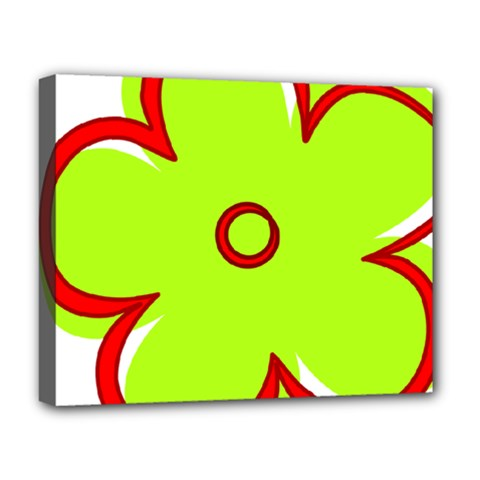 Flower Floral Red Green Deluxe Canvas 20  X 16   by Alisyart