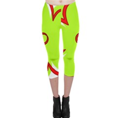 Flower Floral Red Green Capri Leggings