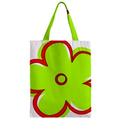Flower Floral Red Green Zipper Classic Tote Bag by Alisyart