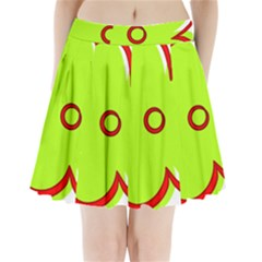 Flower Floral Red Green Pleated Mini Skirt