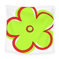 Flower Floral Red Green Square Tapestry (large)