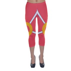 Flower With Heart Shaped Petals Pink Yellow Red Capri Winter Leggings
