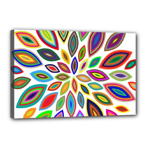 Chromatic Flower Petals Rainbow Canvas 18  X 12  by Alisyart