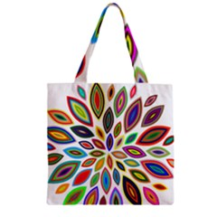 Chromatic Flower Petals Rainbow Zipper Grocery Tote Bag by Alisyart