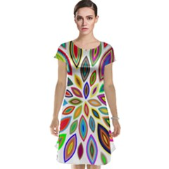 Chromatic Flower Petals Rainbow Cap Sleeve Nightdress by Alisyart
