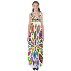 Chromatic Flower Petals Rainbow Empire Waist Maxi Dress