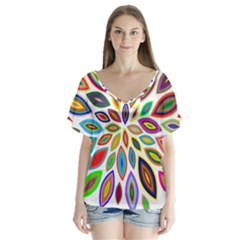 Chromatic Flower Petals Rainbow Flutter Sleeve Top