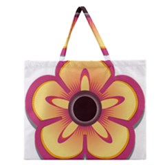 Flower Floral Hole Eye Star Zipper Large Tote Bag by Alisyart