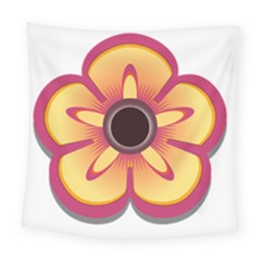 Flower Floral Hole Eye Star Square Tapestry (large)