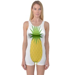 Fruit Pineapple Yellow Green One Piece Boyleg Swimsuit by Alisyart
