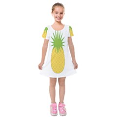 Fruit Pineapple Yellow Green Kids  Short Sleeve Velvet Dress by Alisyart