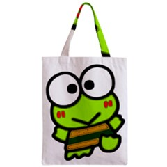 Frog Green Big Eye Face Smile Zipper Classic Tote Bag