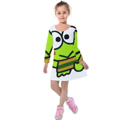 Frog Green Big Eye Face Smile Kids  Long Sleeve Velvet Dress by Alisyart