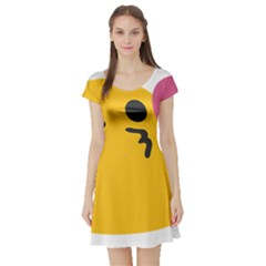 Happy Heart Love Face Emoji Short Sleeve Skater Dress by Alisyart