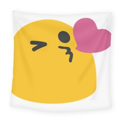 Happy Heart Love Face Emoji Square Tapestry (large) by Alisyart