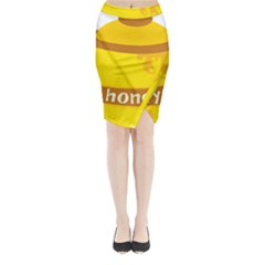 Honet Bee Sweet Yellow Midi Wrap Pencil Skirt by Alisyart