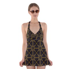 Digitally Created Seamless Pattern Tile Halter Swimsuit Dress by Simbadda