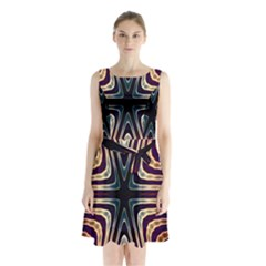 Vibrant Pattern Colorful Seamless Pattern Sleeveless Chiffon Waist Tie Dress by Simbadda