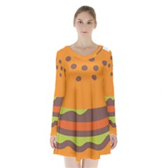 Hamburger Long Sleeve Velvet V Neck Dress