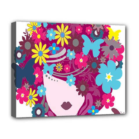 Floral Butterfly Hair Woman Deluxe Canvas 20  X 16