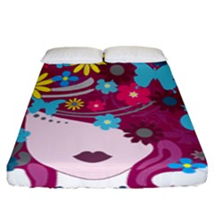 Floral Butterfly Hair Woman Fitted Sheet (king Size) by Alisyart