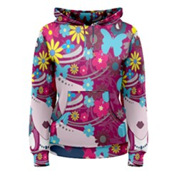 Floral Butterfly Hair Woman Women s Pullover Hoodie