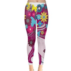 Floral Butterfly Hair Woman Classic Winter Leggings