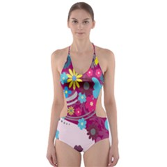 Floral Butterfly Hair Woman Cut Out One Piece Swimsuit
