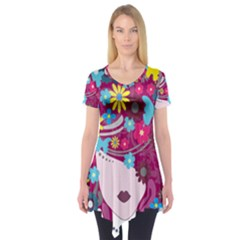 Floral Butterfly Hair Woman Short Sleeve Tunic