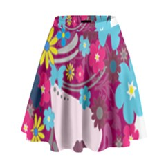 Floral Butterfly Hair Woman High Waist Skirt