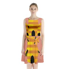Honeycomb Wasp Sleeveless Chiffon Waist Tie Dress by Alisyart