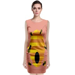 Honeycomb Wasp Sleeveless Velvet Midi Dress by Alisyart
