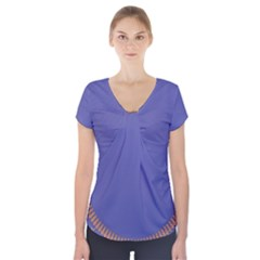 Frame Of Leafs Pattern Background Short Sleeve Front Detail Top