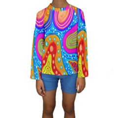 Hand Painted Digital Doodle Abstract Pattern Kids  Long Sleeve Swimwear by Simbadda