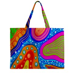 Hand Painted Digital Doodle Abstract Pattern Zipper Mini Tote Bag