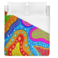 Hand Painted Digital Doodle Abstract Pattern Duvet Cover (queen Size) by Simbadda