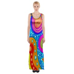 Hand Painted Digital Doodle Abstract Pattern Maxi Thigh Split Dress