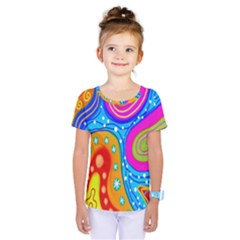 Hand Painted Digital Doodle Abstract Pattern Kids  One Piece Tee by Simbadda
