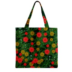 Completely Seamless Tile With Flower Zipper Grocery Tote Bag by Simbadda