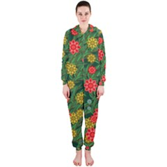 Completely Seamless Tile With Flower Hooded Jumpsuit (ladies)  by Simbadda