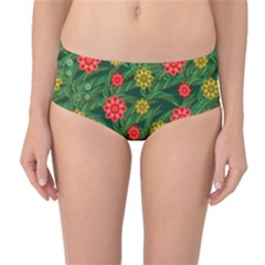 Completely Seamless Tile With Flower Mid-waist Bikini Bottoms by Simbadda