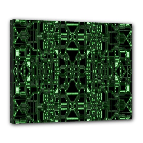An Overly Large Geometric Representation Of A Circuit Board Canvas 20  X 16  by Simbadda