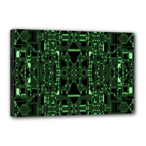 An Overly Large Geometric Representation Of A Circuit Board Canvas 18  X 12  by Simbadda
