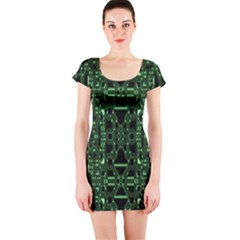 An Overly Large Geometric Representation Of A Circuit Board Short Sleeve Bodycon Dress