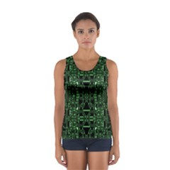 An Overly Large Geometric Representation Of A Circuit Board Women s Sport Tank Top